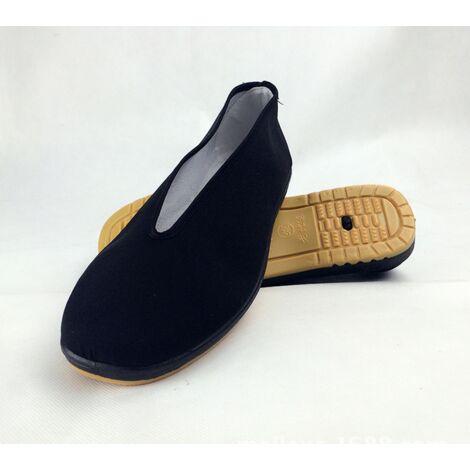 Chaussures à enfiler pour hommes Art Martial Kung Fu Semelle en coton à bout fermé (noir, US8.5 / EU42)