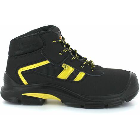 Foxter - Chaussures de sécurité   Mixte : Hommes et Femmes   Montantes   Baskets de Travail   Légères et Respirantes   Imperméable   Sans métal   Cuir Noir   ESD S3 SRC 43 Noir - Noir