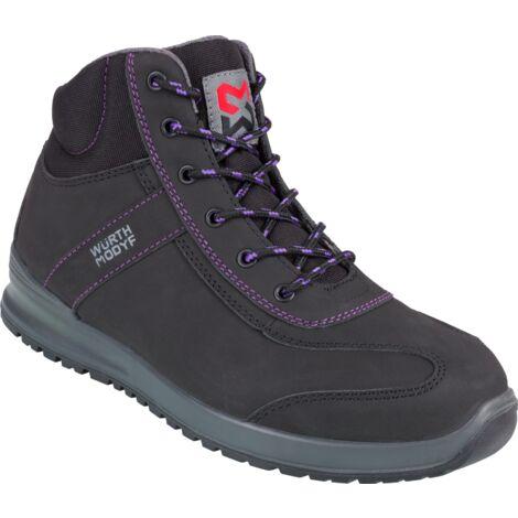 Chaussures de sécurité montantes femmes Carina S3 Würth MODYF noires/violettes
