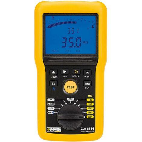 Chauvin Arnoux CA6534 Appareil de mesure disolement 10 V, 25 V, 100 V, 250 V, 500 V 50 GΩ Etalonné selon dusine (sans certificat)