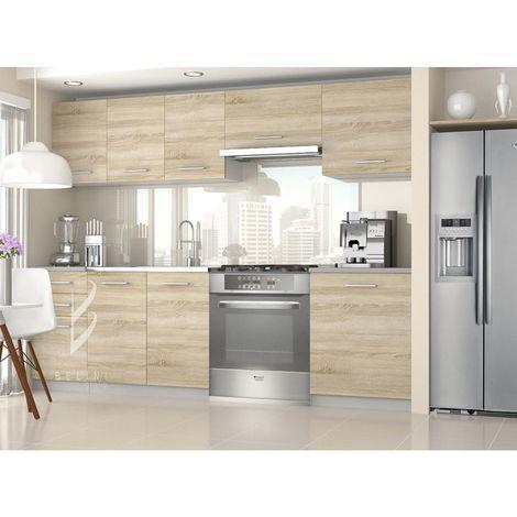 CHAYA   Cuisine Complète Modulaire Linéaire L 240/180 cm 7 pcs   Plan de travail INCLUS   Ensemble armoires modernes cuisine   Sonoma