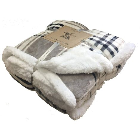 Check Sherpa Throw Taupe & Grey W1520 x H1770mm