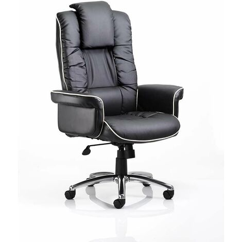 Chel Leather Swivel Adjustable Office Chair - Black Cream