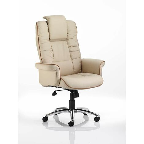 Chel Leather Swivel Adjustable Office Chair - Cream Black