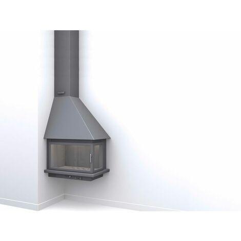 Cheminé suspendue de coin gauche avec porte + Foyer plaque refractaire CH57-R1-PC - anthracite