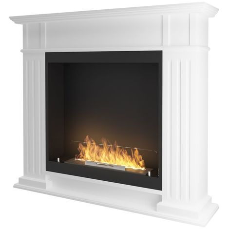 Cheminee a ethanol classique Blanc cm 115x25x100 Sined Fire INPORTAL 1 WHITE