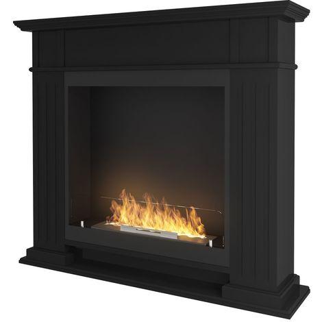 Cheminee a ethanol classique Noir cm 115x25x100 Sined Fire INPORTAL 1 BLACK