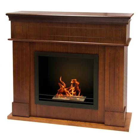 Cheminée au bioéthanol en bois brûleur en acier inoxydable 1.5 L CAMBRIDGE M