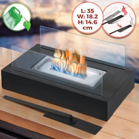 Cheminée Bio Éthanol de Table 35 x 18,2 x 14,6 cm avec Brûleur Rectangulaire en Acier Inoxydable 2 Panneaux en Verre