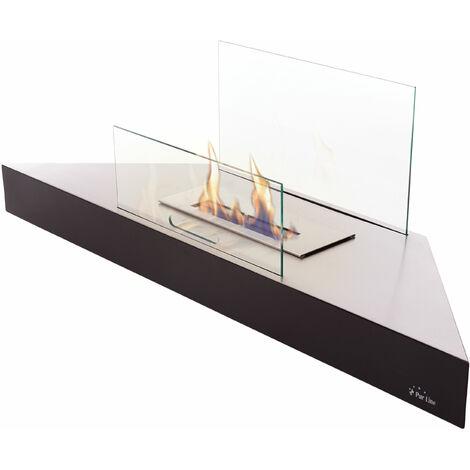Cheminée bioéthanol d'angle en inox laqué noir avec écran de sécurité en verre trempé
