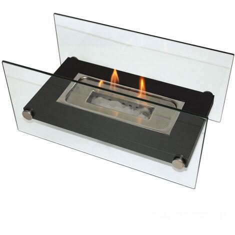 Cheminée bioéthanol de table avec verre trempé , épuré et moderne