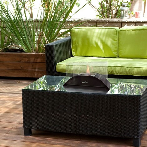 Cheminée bioéthanol de table demi-cercle en verre trempé , design et moderne.
