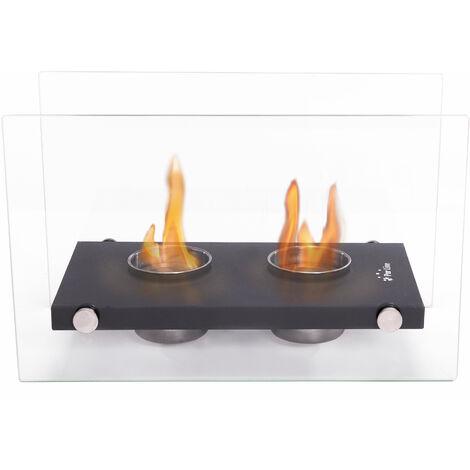 Cheminée bioéthanol de table double flamme avec verre trempé