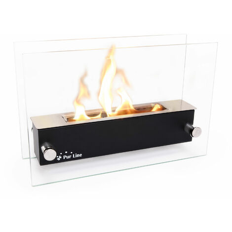 """main image of """"Cheminée bioéthanol de table en inox avec pare feu en verre trempé thermorésistant - Noir"""""""
