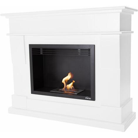 Cheminée bioéthanol décorative composé d'un habillages bois laqué blanc, et d'un insert laqué noir équipé d'un brûleur spécifique