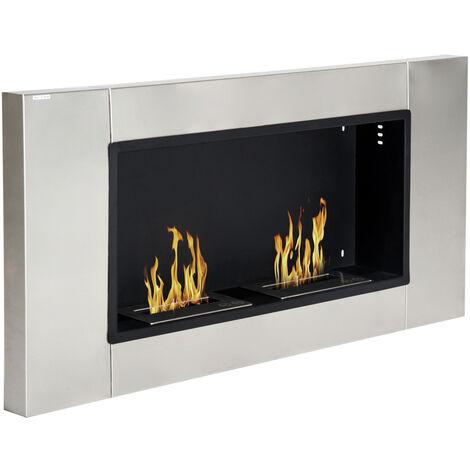 Cheminée bioéthanol murale design Bauhaus 2 brûleurs 3 L couverture 25-30 m² acier inox brossé