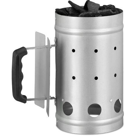 Cheminée d'allumage charbon en acier allume feu cheminée barbecue grill HxD: 27 x 16 cm, grill starter, argent