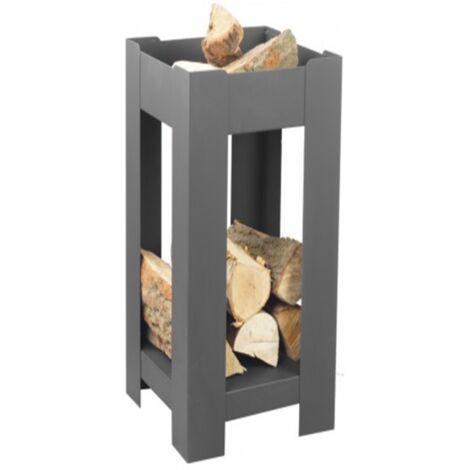 Cheminée de jardin carré BALANE 50x50 cm acier avec rangement bois