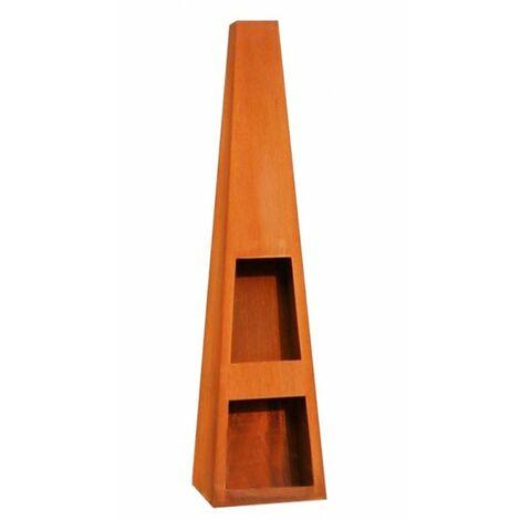 Cheminée de jardin en acier TEXAS 118x40x40 cm avec rangement bois