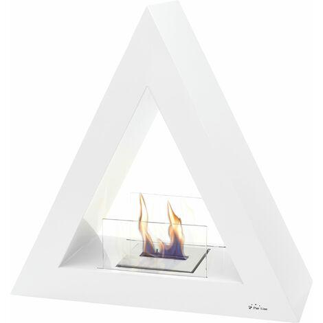 Cheminée de sol bio-éthanol de forme pyramidale en acier laqué blanc