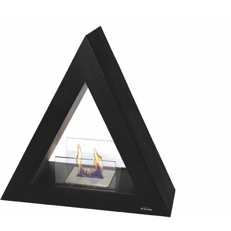 Cheminée de sol bio-éthanol de forme pyramidale en acier laqué noir