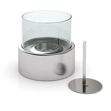 Cheminée de table ronde au Bio-éthanol - 16 x 15 cm - Gris
