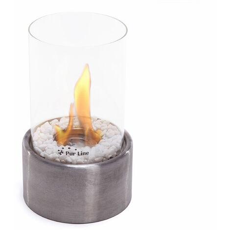 Cheminée de table tout en rondeur et inox brossé avec verre trempé