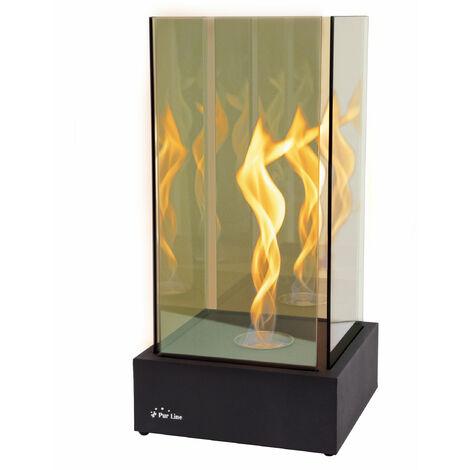 Cheminée de table, une flamme torsadée comme une tornade superbe, effet à l'infini avec verre trempé