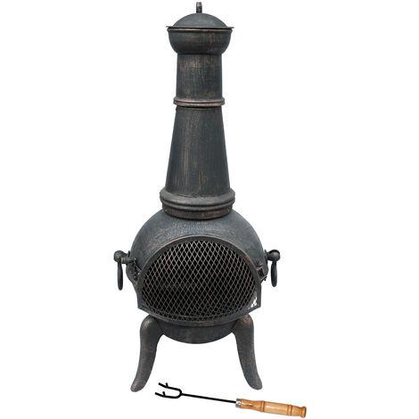 Cheminée d'extérieur - style fourneau - fonte - noir - XL/124 cm