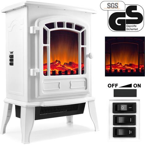 Cheminée électrique 2000W avec chauffage et effet feu de cheminée - Blanc