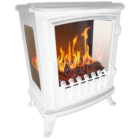 cheminée électrique 2000w avec flamme 3d blanc - 140 blanc - chemin'arte