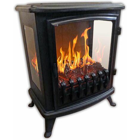 cheminée électrique 2000w avec flamme 3d noir - 139 - chemin'arte