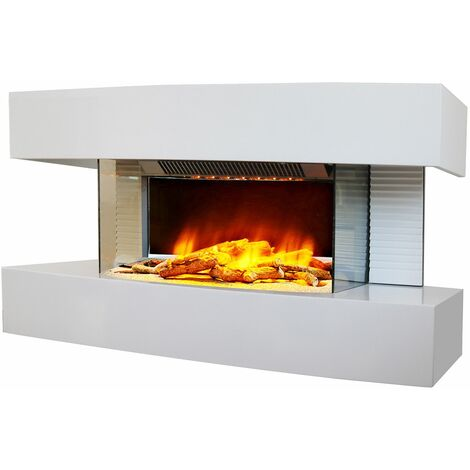 cheminée électrique 2000w blanc - lounge medium blanc - chemin'arte