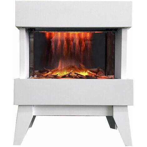 cheminée électrique 2000w blanc - vidrio blanc - chemin'arte