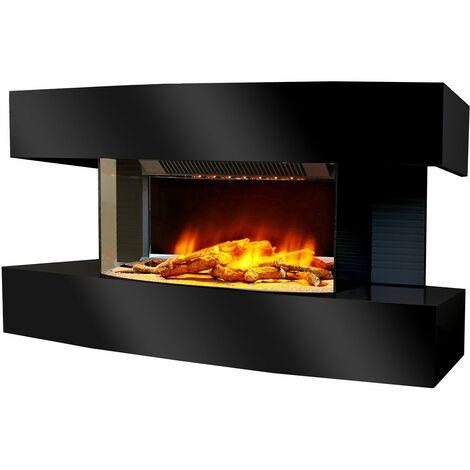 cheminée électrique 2000w noir - lounge medium noir - chemin'arte