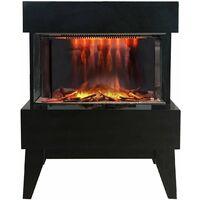 cheminée électrique 2000w noir - vidrio noir - chemin'arte