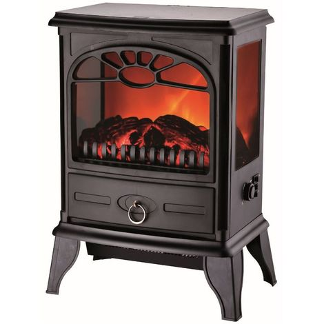Cheminée electrique 3D VISION 1800W Effet flammes NIKLAS Chauffage infrarouge Effet feu sur 3 cotés