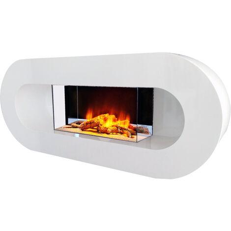 cheminée électrique 2000w blanc - ovalia - chemin'arte
