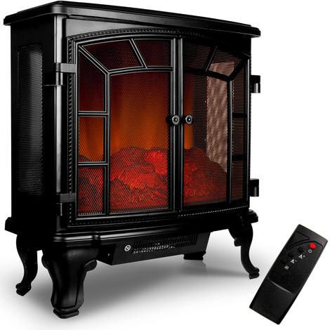 Cheminée électrique double porte avec chauffage et effet feu de cheminée