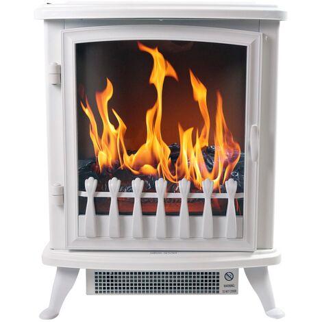 """Cheminée électrique """"Fire Glass"""" - blanche"""