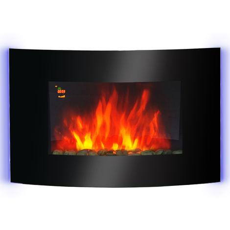 Cheminée électrique murale éclairages latéraux LED design avant-gardiste affichage LED avec télécommande et minuterie 1000/2000 W luminosité réglable noir