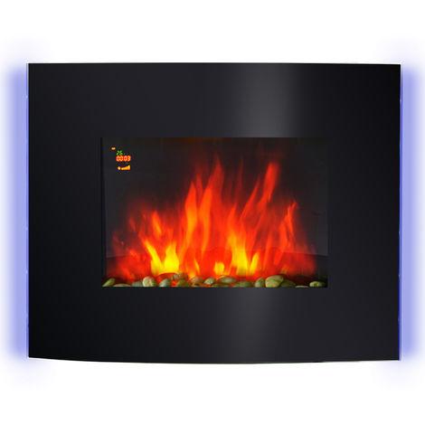 Cheminée électrique murale éclairages latéraux LED design avant-gardiste affichage LED avec télécommande et minuterie 900/1800 W luminosité réglable noir