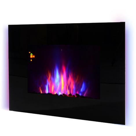 Cheminée électrique murale LED 7 effets flammes + 7 couleurs ambiance + galets télécommande thermostat 1000-2000 W minuterie noir