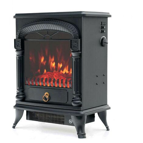 Cheminée Électrique Poêle 1950 W Kekai Arizona 37x23x51 cm Illusion Flamme Thermostat Noir