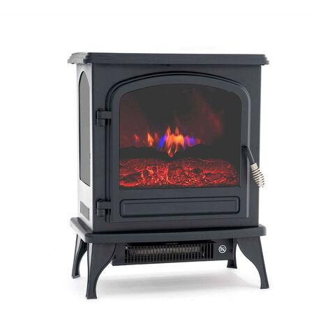 Cheminée Électrique Poêle 1950 W Kekai Colorado 41x28x52 cm Illusion Flamme Thermostat Noir