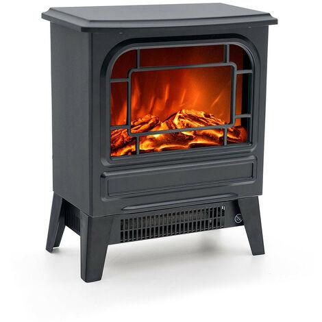 Cheminée Électrique Poêle 1950 W Kekai Nebraska 35x21x44 cm Illusion Flamme Thermostat Noir
