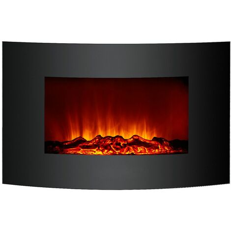 Cheminée Électrique Poêle à Poser/Murale 2000 W Kekai Jersey 88x15x56 cm Illusion Flamme Thermostat Noir