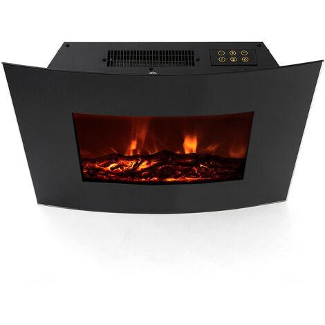 Cheminée Électrique Poêle à Poser/Murale 2000 W Kekai Montana 66x15x52 cm Illusion Flamme Thermostat Noir