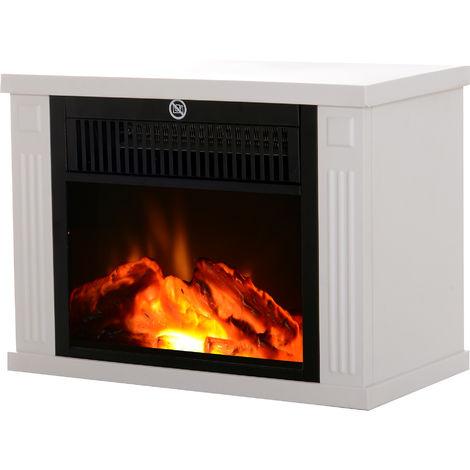 Cheminée électrique poêle style contemporain thermostat 600-1200 W blanc