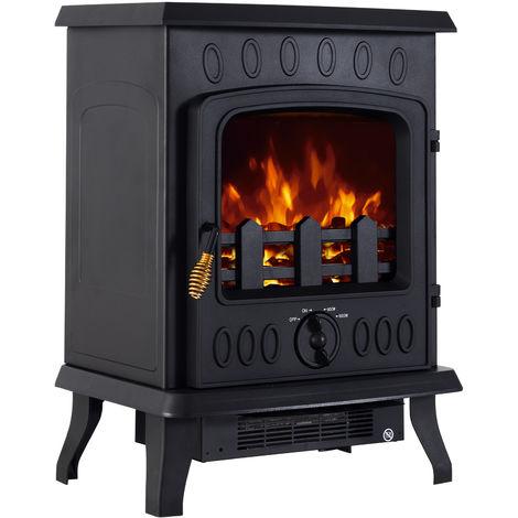 Cheminée électrique poêle style néo-rétro 900/1800 W simulation flammes LED luminosité réglable porte verre trempé noir